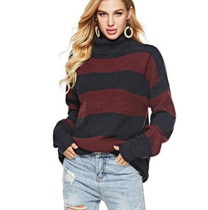 Womens Wide Striped Turtleneck Sweater