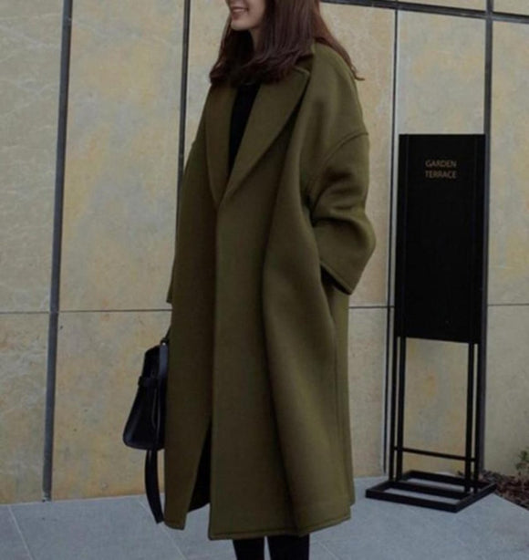 Womens Mid Length Overcoat in Army Green