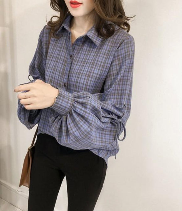 Womens Blue Plaid Shirt with Balloon Sleeves