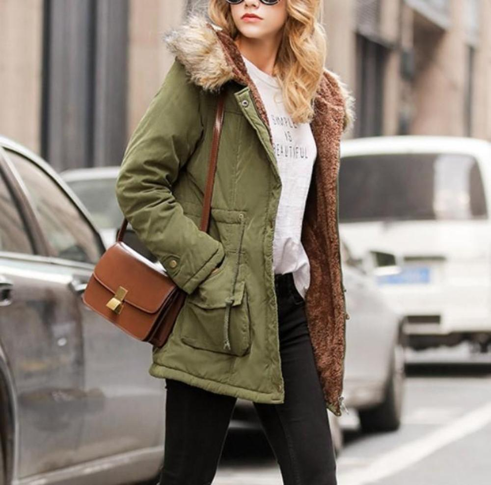 Womens Military Jacket with Inner Fur