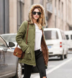 womens army green polyester/cotton blend hooded coat with faux fur lining - AmtifyDirect