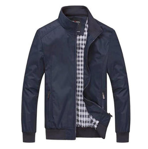 Mens Casual Zipper Stand Collar Jacket - AmtifyDirect
