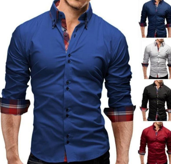 Mens Shirt with Plaid Details