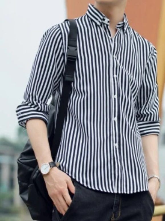 Mens Casual Long Sleeve Stripe Shirt