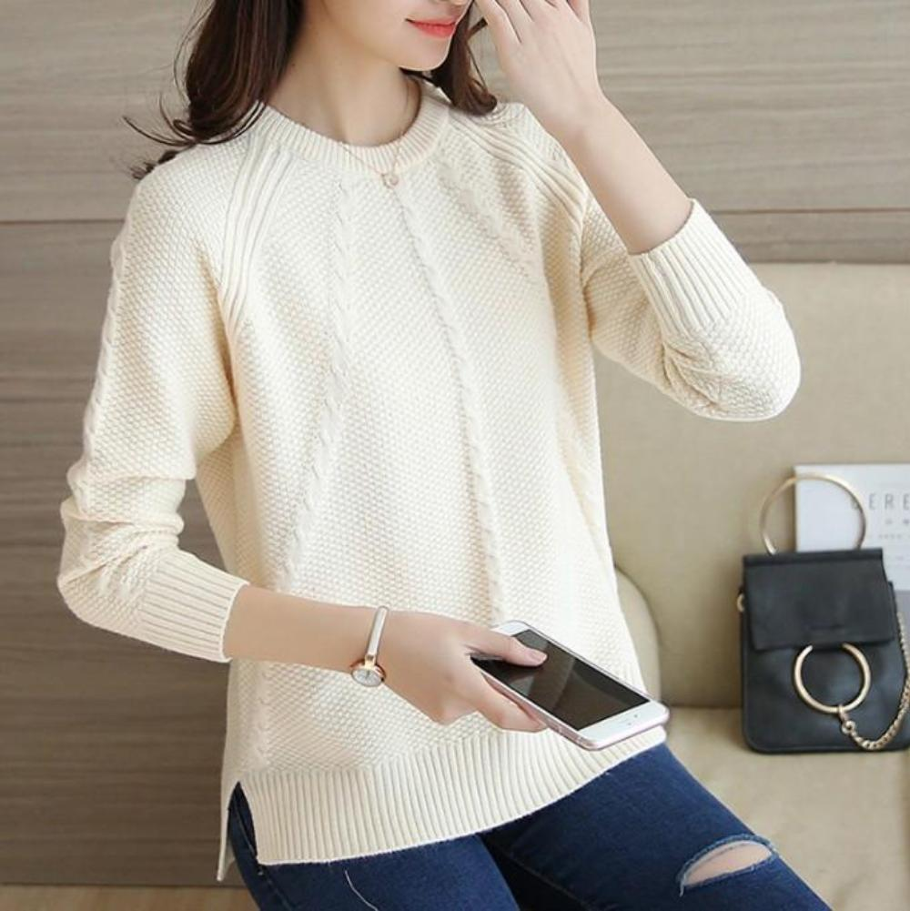 Womens Casual Sweater Accented with Cable Knit Patterns