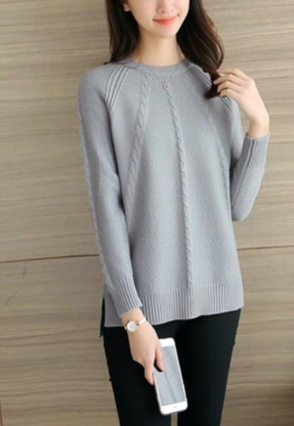 womens gray polyester/acrylic blend cable knit long sleeve round neck sweater - AmtifyDirect