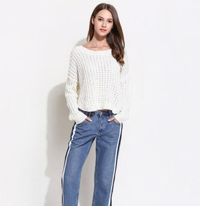 womens white round neck loose fit sweater - AmtifyDirect