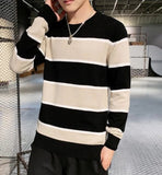 mens cotton blend striped crewneck sweater - AmtifyDirect