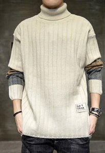 Mens Causal Turtle Neck Sweater with Stripe Sleeves Design