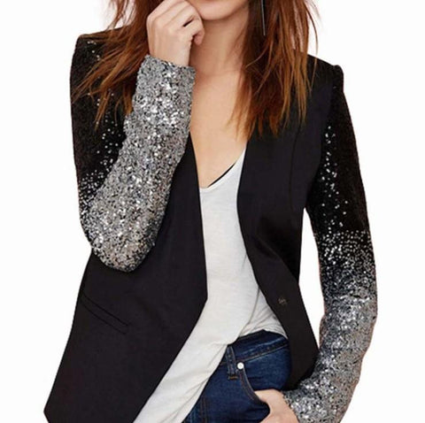 womens black polyester ombre sequin blazer