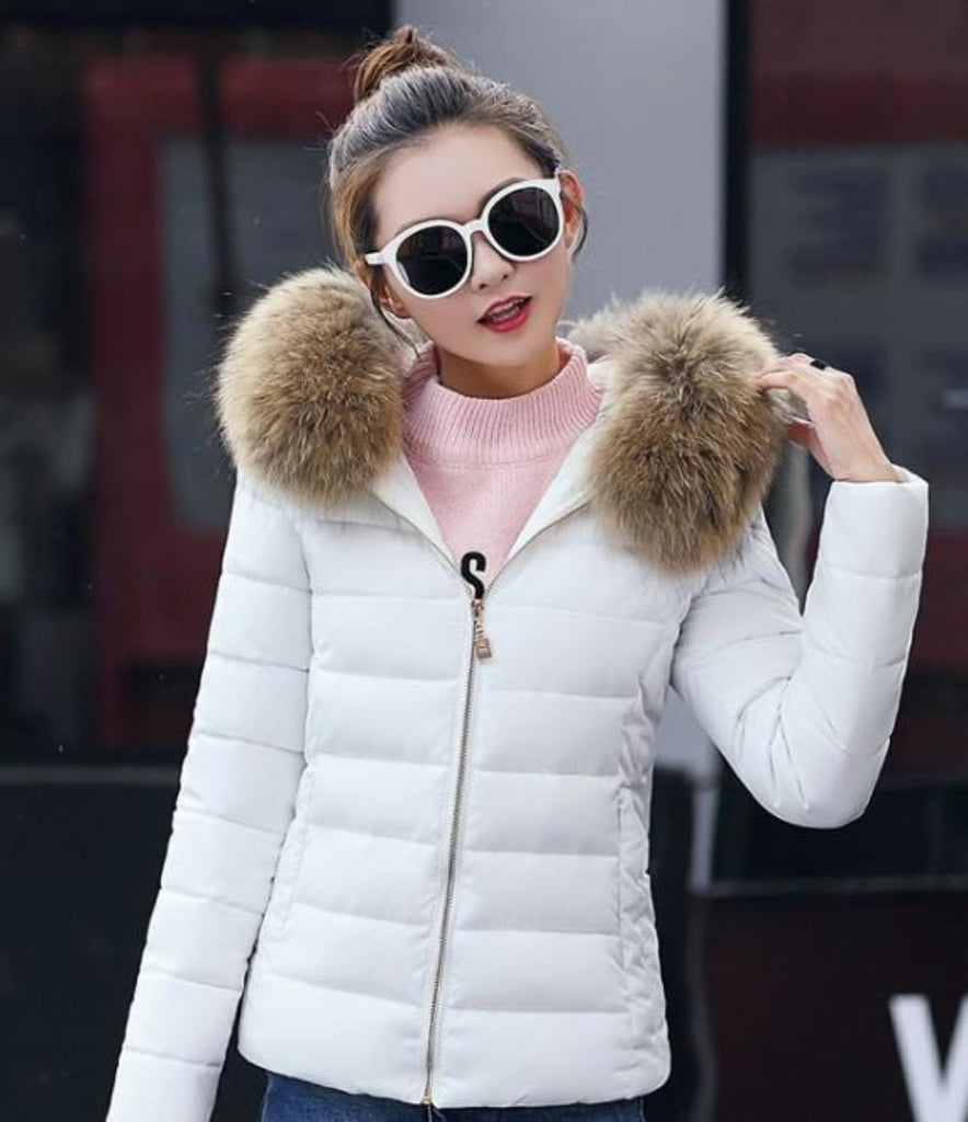 Womens Slim Fit Zip Up Hooded Coat