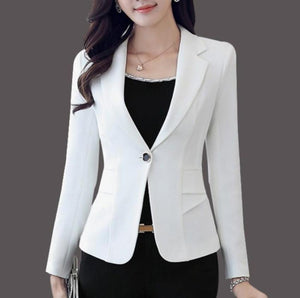 womens black polyester slim fit one button blazer - AmtifyDirect
