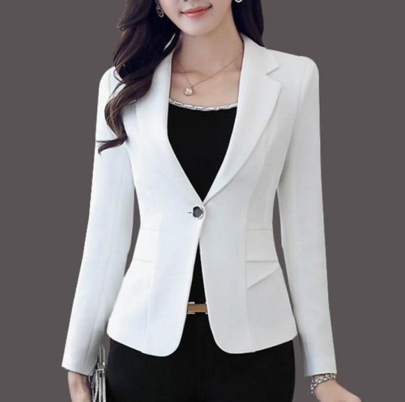 womens white polyester slim fit one button blazer - AmtifyDirect