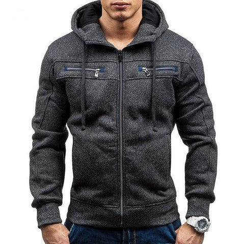 Men's Zipper Hoodie with Elbow Details - AmtifyDirect