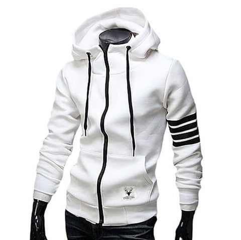 Mens White Cotton Blend Hoodie with Striped Sleeves - AmtifyDirect