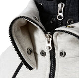 Mens High Collar Two Tone High Collar Windproof Hoodie - AmtifyDirect