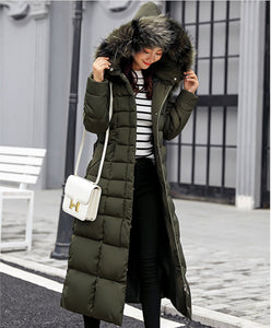 Womens Hooded Long Puffer Coat with Removable Faux Fur