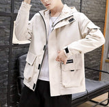 mens off white polyester/cotton blend hooded zip up street style jacket
