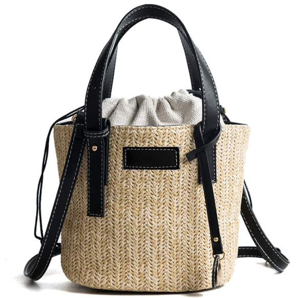 Vegan Leather Straw Shoulder Bucket Bag