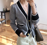 womens cotton blend two tone button front cardigan - AmtifyDirect
