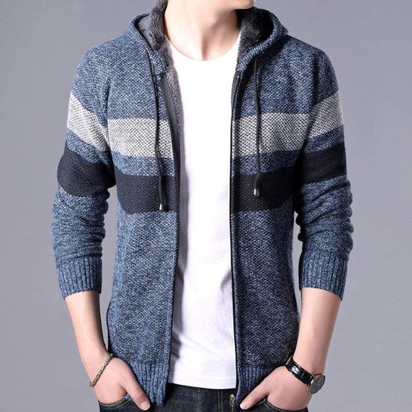 mens blue polyester cotton hooded zip up cardigan sweater - AmtifyDirect