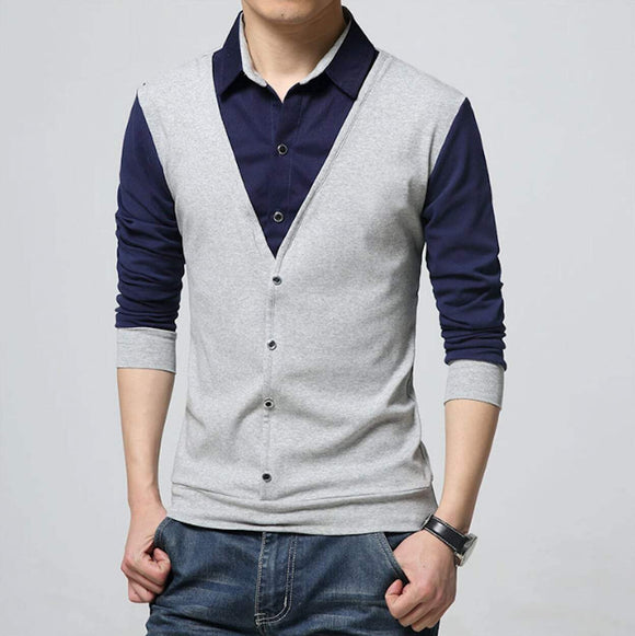 mens gray polyester/cotton blend vest with attached shirt - Amtify Direct