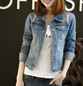 womens blue denim distressed short jacket - AmtifyDirect