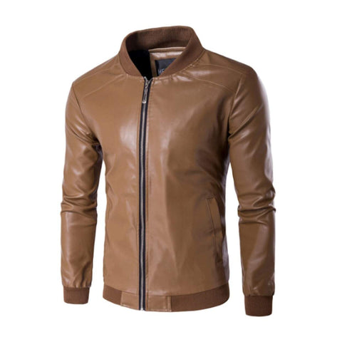 Mens Faux Leather Bomber Jacket - AmtifyDirect