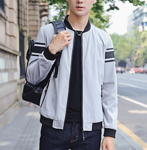 Mens Casual Zipper Jacket with Stripes - AmtifyDirect