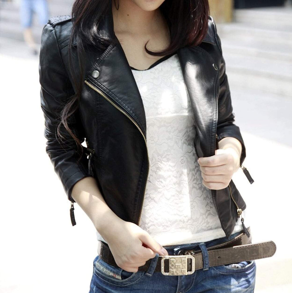 Womens Cropped Faux Leather Jacket