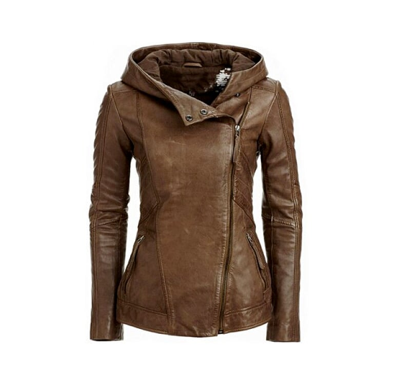 Womens Hooded Moto Jacket