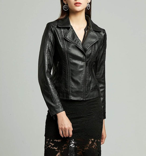womens black faux leather vegan biker jacket - AmtifyDirect