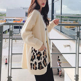 womens beige with leopard print pockets button down cardigan