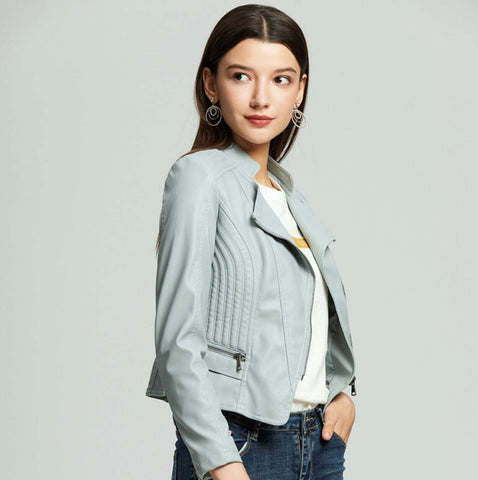 womens light blue faux leather vegan biker jacket - amtifyDirect