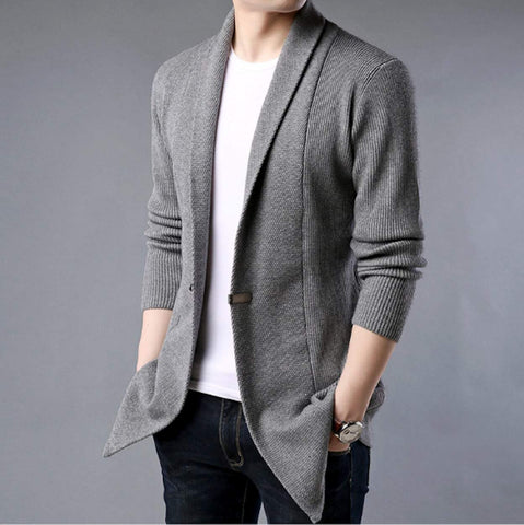 mens gray shawl collar cardigan sweater