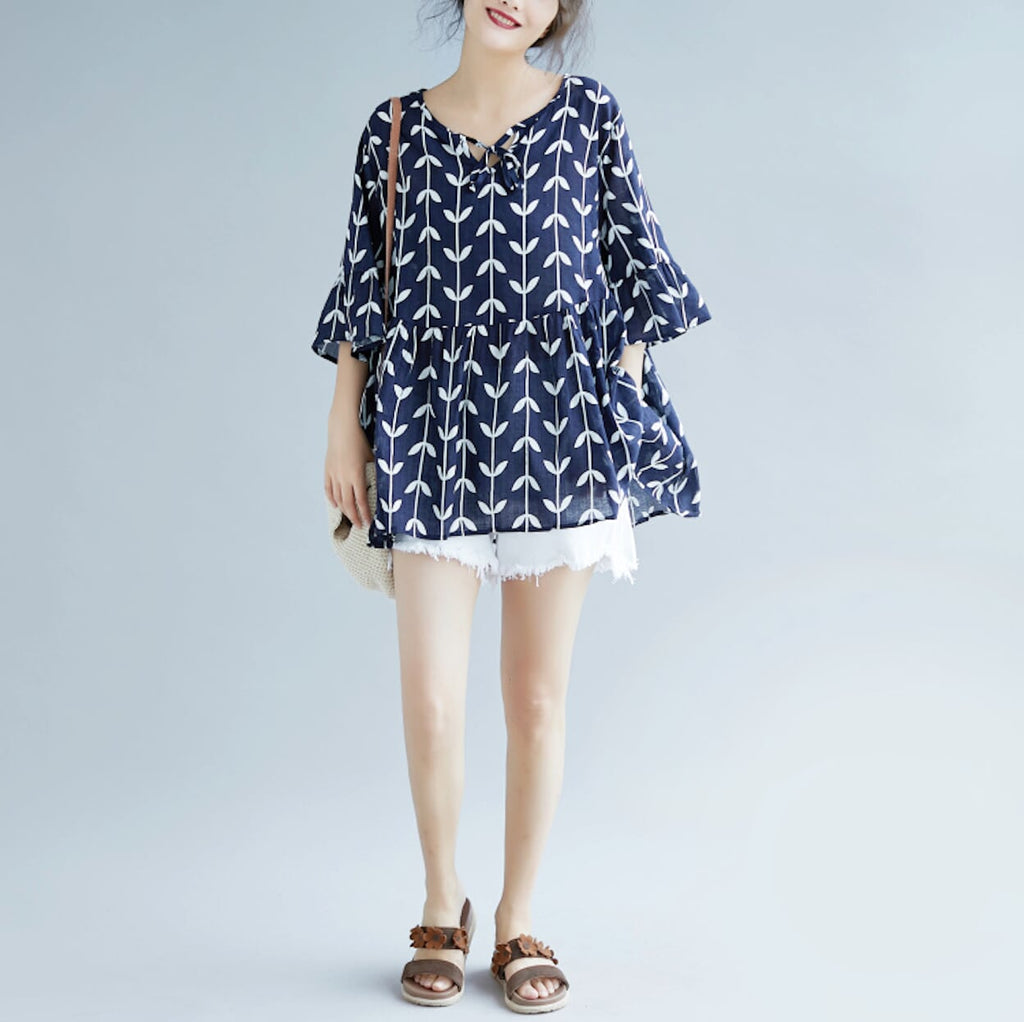 Womens Floral Babydoll Top