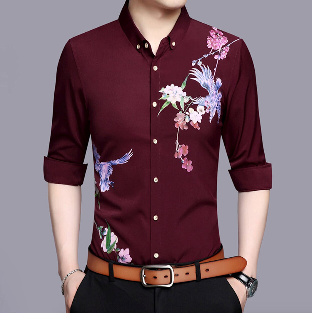 Mens Long Sleeve Swallow Print Shirt - AmtifyDirect