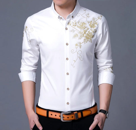 Mens Long Sleeve Floral Shirt