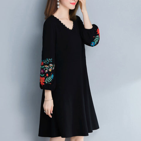 Womens Dress with Embroidered Sleeves
