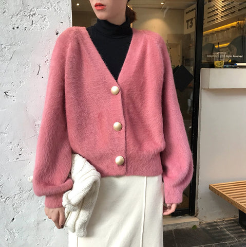 womens cotton blend pink fuzzy button front cardigan - AmtifyDirect