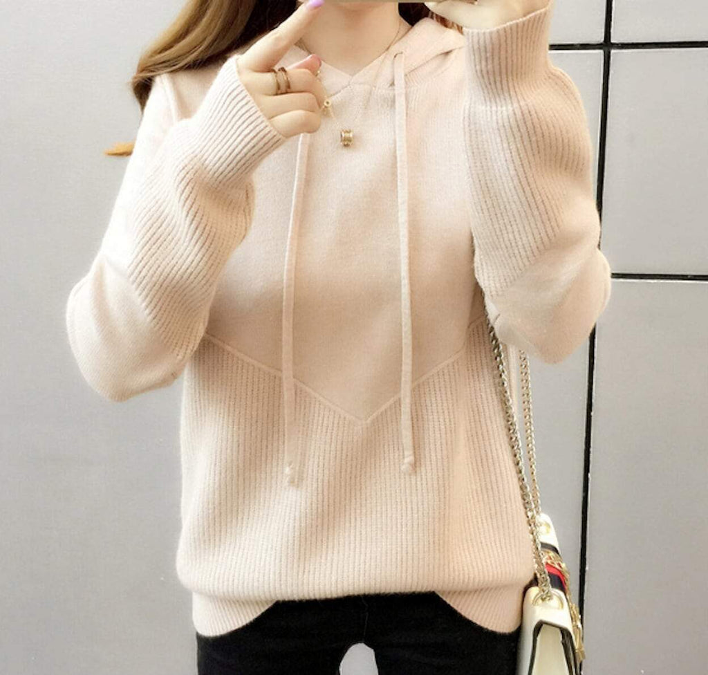 womens beige acrylic vegan friendly V Neck sweater - AmtifyDirect