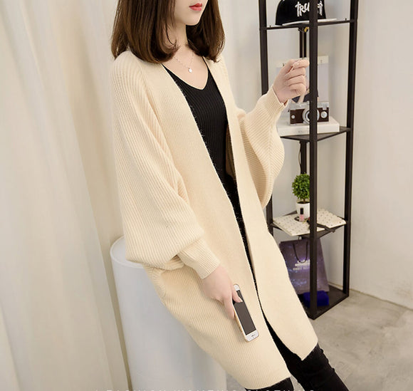 womens beige acrylic blend batwing open front long cardigan - AmtifyDirect