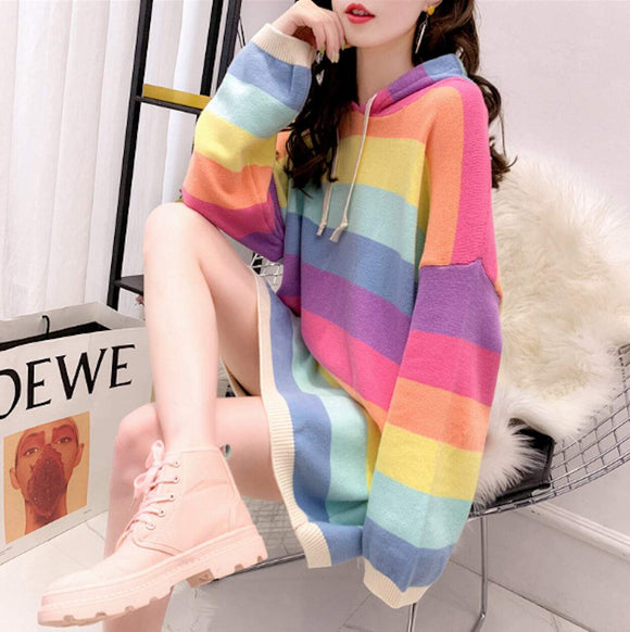 womens multi color striped acrylic vegan friendly hooded sweater - AmtifyDirect