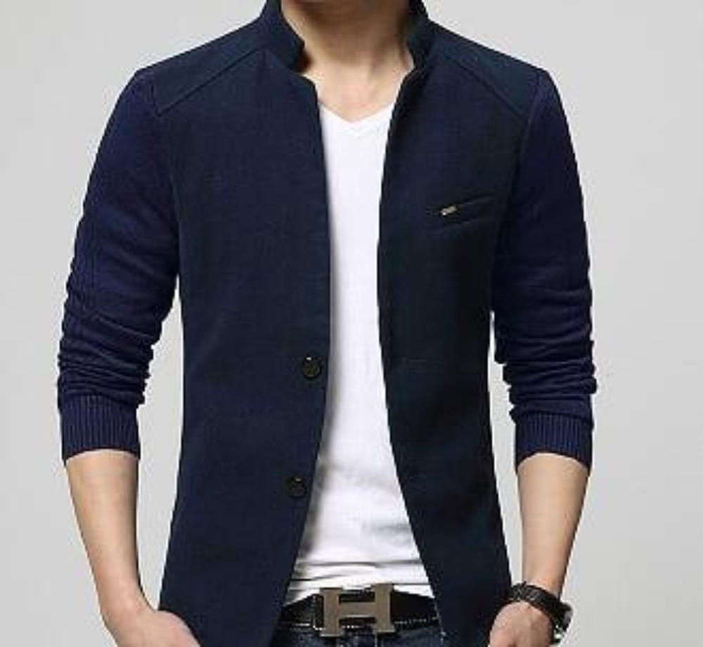 mens navy polyester/cotton blend stand up collar blazer - Amtify Direct
