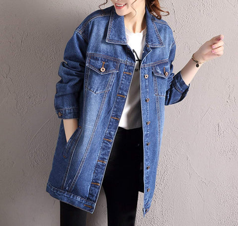 womens blue denim relaxed fit jacket -AmtifyDirect