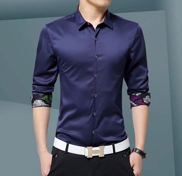 Mens Button Down Shirt with Inner Details - AmtifyDirect