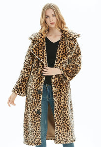 Womens Mid Length Leopard Print Overcoat