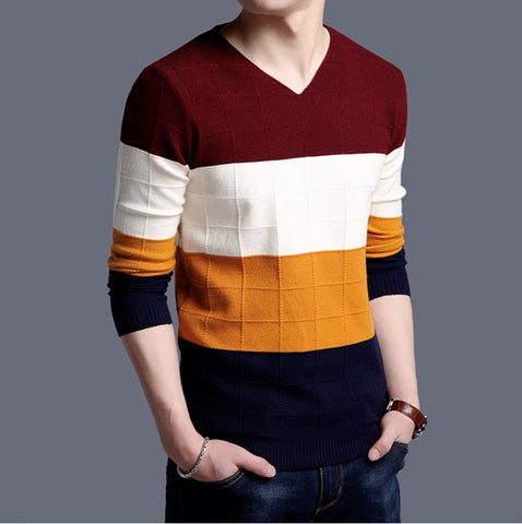 Mens V Neck Color Block Sweater