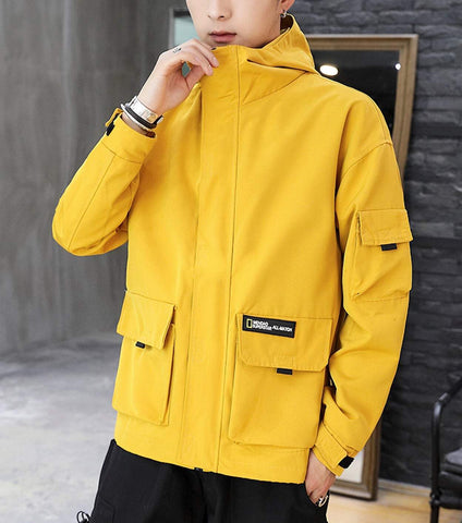 mens yellow polyester/cotton blend hooded zip up street style jacket