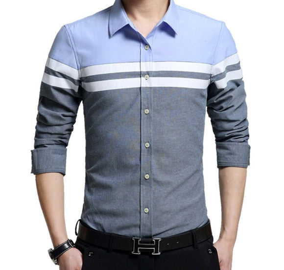 Mens Long Sleeve Color Block Shirt - AmtifyDirect
